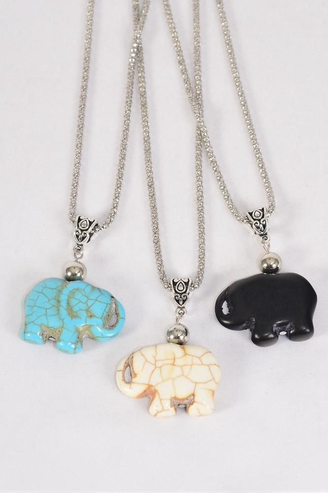 "Necklace Silver Chain Elephant All Hand Carved Real Semiprecious Stone/DZ match 03144 Pendant-1.25""x 1.25"" Wide,Chain-18"" Extension Chain,4 Ivory,4 Black,4 Turquoise Asst,Hang Tag & OPP Bag & UPC Code"