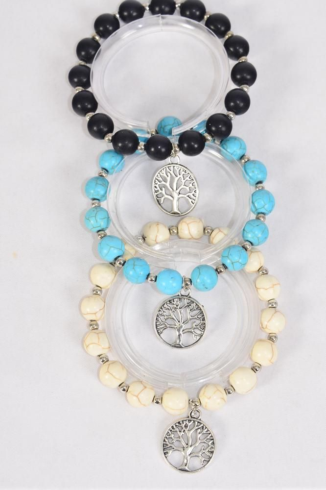Bracelet 10 mm Semiprecious Stone Silver Tree of Life Charm/DZ match 01217 **Stretch** 4 Black,4 Ivory,4 Turquoise Asst,Hang Tag & OPP Bag & UPC Code