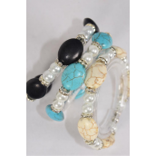 Bracelet 8 mm Glass Pearl & 12 mm Oval Semiprecious Stone & Bezels Stretch/DZ **Stretch** 4 Black,4 Ivory,4 Turquoise,3 Color Asst,Hang Tag & Opp Bag & UPC Code -