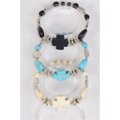 Bracelet Cross & Heart Hand Carved Real Semiprecious Stone/DZ match 03129 **Stretch** 4 Black,4 Ivory,4 Turquoise Asst,Hang Tag & OPP Bag & UPC Code