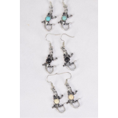 "Earrings Metal Antique Lizard Semiprecious Stone/DZ **Fish Hook** Size-1.25""x 0.5"" Wide,4 Black,4 Ivory,4 Turquoise Asst,Earring Card & OPP Bag & UPC Code -"