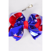 "Hair Bow Extra Jumbo Star Patriotic-Flag Grosgrain Bow-tie/DZ **Alligator Clip** Size-6""x 5"" Wide,4 of each Color Asst,Clip Strip & UPC Code"