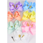 "Hair Bow Jumbo Double Layer Gold Wings Grosgrain Bowtie Pastel/DZ **Pastel** Size-6""x 6"",Alligator Clip,2 White,2 Baby Pink,2 Lavender,2 Blue,2 Yellow,1 Peach,1 Mint Green,7 Color Asst,Clear Strip & UPC Code"