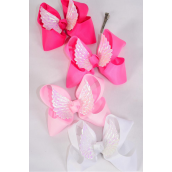 "Hair Bow Jumbo Wings Grosgrain Bowtie Pink & Mint Green Mix/DZ **Pink Mix** Alligator Clip,Bow-6""x 6"",3 of each Color Asst,Clip Strip & UPC Code"