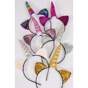 "Headband Horseshoe Unicorn Mermaid Sequin Fabric 2 Tone Reversible Dragon Shiny Scale/DZ **Multi** Unicorn-5""x 1.5"" Wide,4 Silver,2 Gold,2 Multi,2 Pink,2 Fuchsia Asst,OPP Bag & UPC Code"