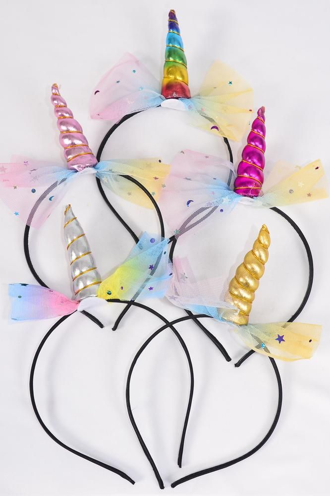Headband Horseshoe Unicorn Rainbow Star & Moon/DZ **Multi** 4 Multi,2 Gold,2 Silver,2 Pink,2 Fuchsia,5 Asst,OPP Bag & UPC Code