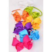 "Head Band Horseshoe Jumbo Grosgrain Bow-tie Citrus/DZ **Citrus** Bow Size-6""x 5"",2 White,2 Fuchsia,2 Purple,2 Blue,2 Yellow,1 Lime,1 Orange,7 Color Asst,Hang Tag & UPC Code,W Clear Box"