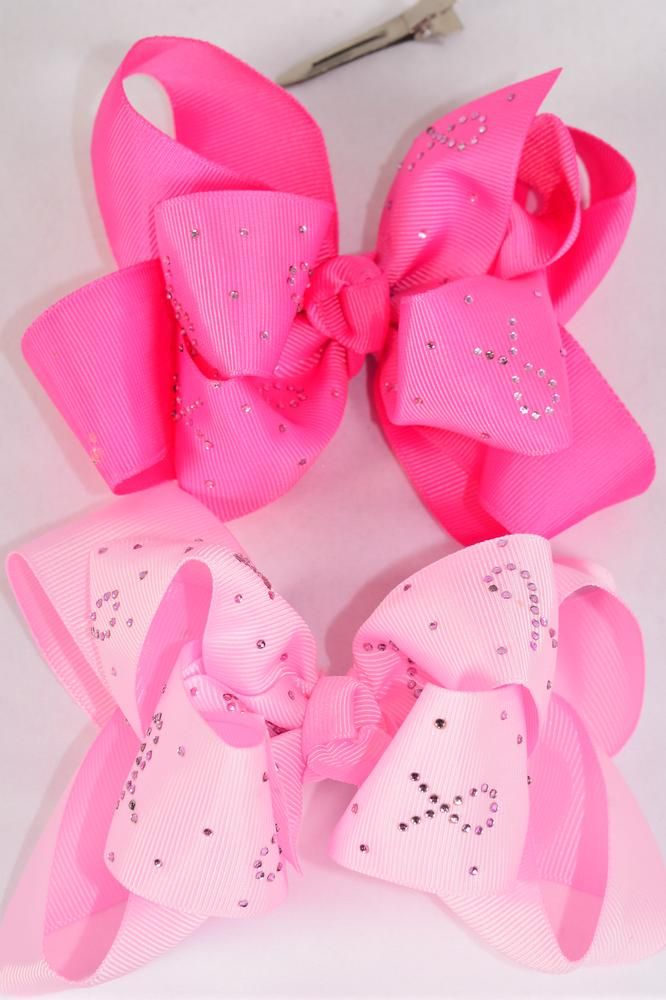 "Hair Bow Jumbo Double Layered Studded Pink Ribbon Grosgrain Bow-tie/DZ Alligator Clip,Size-6""x 5"" Wide,6 of each Color Asst,Clip Strip & UPC Code"