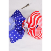"Hair Bow Jumbo Cheer Type Bow Patriotic-Flag Grosgrain Bow-tie Multi/DZ **Alligator Clip** Size-8""x 7"" Wide,Clip Strip & UPC Code"