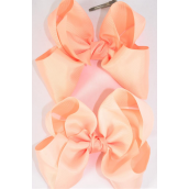 "Hair Bow Cheer Type Bow Peach Color Mix Grosgrain Bow-tie/DZ **Peach Color Mix** Alligator Clip,Size-8""x 7"" Wide,6 of each Color Asst,Clip Strip & UPC Code"