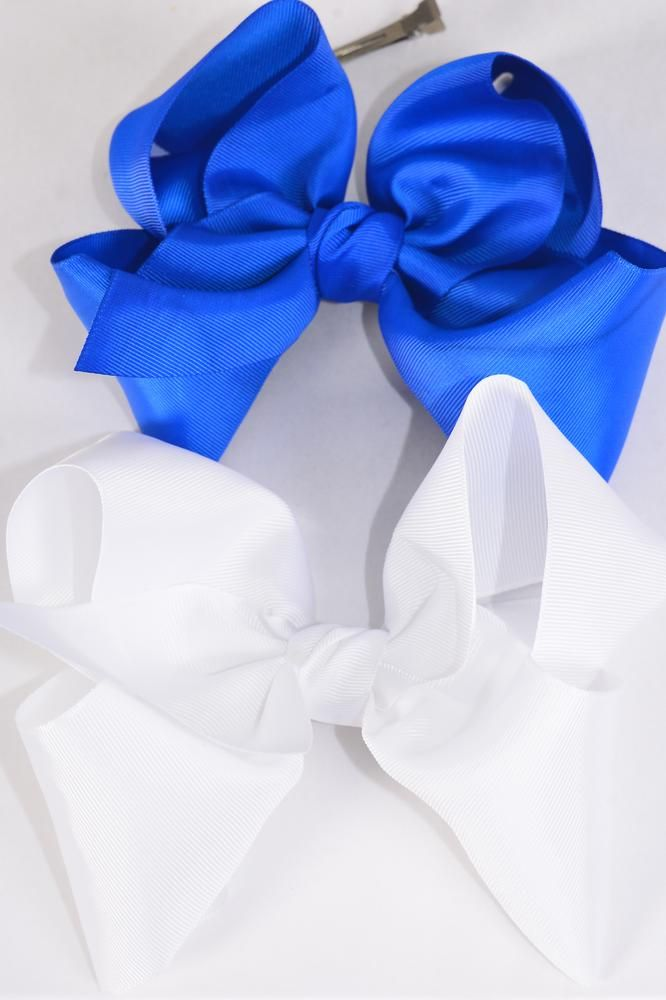 "Hair Bow Cheer Type Bow Royal Blue & White Mix Grosgrain Bow-tie/DZ **Alligator Clip** Size-8""x 7"" Wide,6 White,6 Royal Blue Color Asst,Clip Strip & UPC Code"