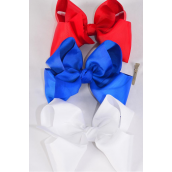 "Hair Bow Extra Jumbo Cheer Type Bow Patriotic Red White Royal Blue Mix Grosgrain Bow-tie/DZ **Alligator Clip** Size-8""x 7"" Wide,4 Red,4 White,4 Royal Blue Mix,Clip Strip & UPC Code"