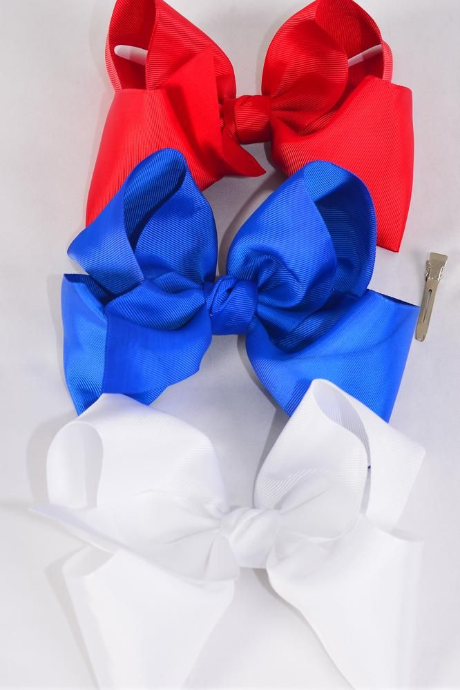 "Hair Bow Cheer Type Bow Red White Royal Blue Mix Grosgrain Bow-tie/DZ **Alligator Clip** Size-8""x 7"" Wide,4 Red,4 White,4 Royal Blue Mix,Clip Strip & UPC Code"