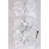 "Hair Bow Jumbo Double Layer Glitters White Pattern Mix Grosgrain Bowtie/DZ **White** Alligator Clip,Size-6""x 6"" Wide,4 of each Pattern Asst,Clip Strip & UPC Code"