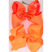 "Hair Bow Cheer Type Bow Orange Mix Grosgrain Bow-tie/DZ **Orange Mix** Alligator Clip,Size-8""x 7"" Wide,6 of each Color Asst,Clip Strip & UPC Code"