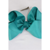 "Hair Bow Cheer Type Bow Teal Green Grosgrain Bow-tie/DZ **Teal Green** Size-8""x 7"" Wide,Alligator Clip,Clip Strip & UPC Code"