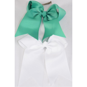 "Hair Bow Extra Jumbo Long Tail Cheer Type Bow Kelly Green & White Mix Grosgrain Bow-tie/DZ **Kelly Green & White Mix** Alligator Clip,Size-6.5x 6"" Wide,6 of each Color Asst,Clip Strip & UPC Code"