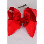 "Hair Bow Cheer Type Bow Red Grosgrain Bow-tie/DZ **Red** Alligator Clip,Size-8""x 7"" Wide,Clip Strip & UPC Code"