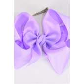 "Hair Bow Cheer Type Bow Lavender Grosgrain Bow-tie/DZ **Lavender** Alligator Clip,Size-8""x 7"" Wide,Clip Strip & UPC Code"