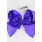 "Hair Bow Cheer Type Bow Purple Grosgrain Bow-tie/DZ **Purple** Size-8""x 7"" Wide,Alligator Clip,Clip Strip & UPC Code"