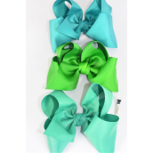 "Hair Bow Cheer Type Bow Irish Green Mix Grosgrain Bow-tie/DZ **Irish Green Mix** Alligator Clip,Size-8""x 7"" Wide,4 of each Color Asst,Clip Strip & UPC Code"