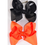"Hair Bow Cheer Type Bow Black & Orange Mix Grosgrain Bow-tie/DZ **Black & Orange Mix** Alligator Clip,Size-8""x 7"" Wide,6 of each Color Asst,Clip Strip & UPC Code"