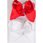 "Hair Bow Cheer Type Bow Red & White Mix Grosgrain Bow-tie/DZ **Red & White Mix** Alligator Clip,Size-8""x 7"" Wide,6 of each Color Asst,Clip Strip & UPC Code"