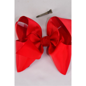 "Hair Bow Jumbo Red Grosgrain Bow-tie/DZ **Red** Size-6""x 5"",Alligator Clip,Clip Strip & UPC Code"