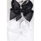 """Hair Bow Cheer Type Bow Black & White Mix Grosgrain Bow-tie/DZ **Black & White Mix** Alligator Clip,Size-8""""x 7"""" Wide,6 of each Color Asst,Clip Strip & UPC Code"""