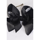 "Hair Bow Cheer Type Bow Black Grosgrain Bow-tie/DZ **Black** Size-8""x 7"" Wide,Alligator Clip,Clip Strip & UPC Code"