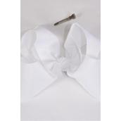 "Hair Bow Cheer Type Bow White Grosgrain Bow-tie/DZ **White** Size-8""x 7"" Wide,Alligator Clip,Clip Strip & UPC Code"