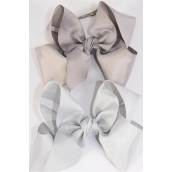 "Hair Bow Cheer Type Bow Gray Mix Grosgrain Bow-tie/DZ **Gray Mix** Alligator Clip,Size-8""x 7"" Wide,6 of each Color Asst,Clear Strip,UPC Code"