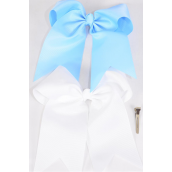 "Hair Bow Extra Jumbo Long Tail Cheer Type Bow Baby Blue & White Mix Grosgrain Bow-tie/DZ **Baby Blue & White Mix** Alligator Clip,Size-6.5""x 6"" Wide,6 of each Color Asst,Clip Strip & UPC Code"