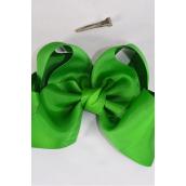 "Hair Bow Jumbo Kelly Green   Grosgrain Bow-tie/DZ **Kelly Green** Size-6""x 5"",Alligator Clip,Clip Strip & UPC Code"