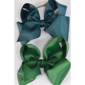 "Hair Bow Cheer Type Bow Huntergreen Mix Grosgrain Bow-tie/DZ **Huntergreen Mix** Alligator Clip,Size-8""x 7"" Wide,6 of each Color Asst,Clip Strip & UPC Code"