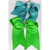"Hair Bow Extra Jumbo Long Tail Cheer Type Bow Kelly Green Mix Grosgrain Bow-tie/DZ **Kelly Green Mix** Alligator Clip,Size-6.5x 6"" Wide,3 of each Color Asst,Clear Strip & UPC Code"