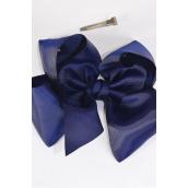 "Hair Bow Cheer Type Bow NAVY Grosgrain Bow-tie/DZ **Navy** Size-8""x 7"" Wide,Alligator Clip,Clip Strip & UPC Code"
