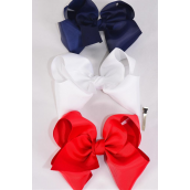 "Hair Bow Jumbo Red White Navy Mix Grosgrain Bow-tie/DZ **Red White Navy Mix** Size-6""x 5"",Alligator Clip,4 of each Color Asst,Clip Strip & UPC Code"