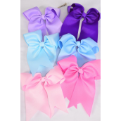 "roll over the image to enlarge         Hair Bow Extra Jumbo Long Tail Cheer Type Bow Spring Mix Grosgrain Bow-tie/DZ **Spring Mix** Alligator Clip,Size-6.5""x 6"" Wide,2 of each Color Asst,Clip Strip & UPC Code"
