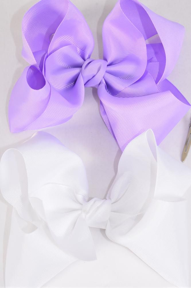 Hair Bow Cheer Type Lavender White Mix Grosgrain Tie Dz