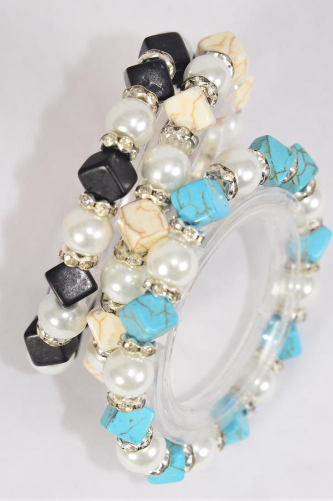 Bracelet 10 mm Glass Pearl & Semiprecious Stone & Rhinestone Bezel Mix Stretch/DZ **Stretch** 4 Ivory,4 Black,4 Turquoise Mix,Hang Tag & Opp Bag & UPC Code