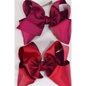"Hair Bow Cheer Type Bow Burgundy Mix Grosgrain Bow-tie/DZ **Burgundy Mix** Alligator Clip,Size-8""x 7"" Wide,6 of each Color Asst,Clip Strip & UPC Code"