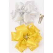 "Hair Bow Jumbo Double Layer Center Clear Stones Metallic G/S Asst/DZ **Alligator Clip** Size-6""x 6"" Wide,6 Gold,6 Silver Asst, Clip Strip & UPC Code"