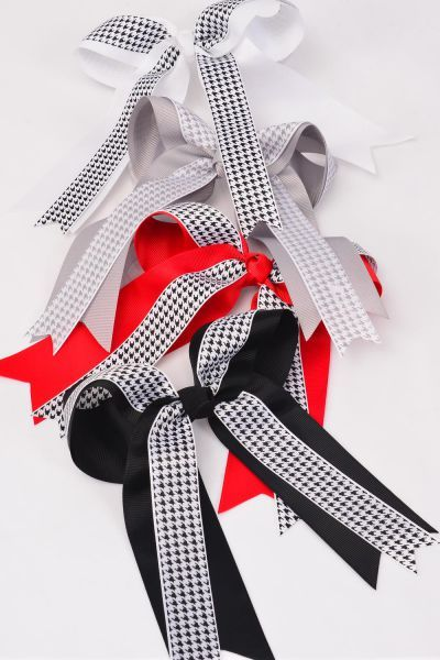 "Hair Bow Long Tail Houndtooth Double Layer Alligator Clip Grosgrain Bowtie/DZ **Alligator Clip** Bow-6.5""x 6"" Wide,3 Black,3 White,3 Red,3 Gray Asst,Clip Strip & UPC Code"