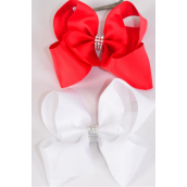 """Hair Bow Extra Jumbo Center Clear Stones Red & White Mix Grosgrain Bowtie/DZ **Red & White Mix** Alligator Clip,Bow-6""""x 5"""",6 of each Color Asst,Clip Strip & UPC Code"""