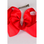 """Hair Bow Extra Jumbo Center Clear Stones Red Grosgrain Bowtie/DZ **Red** Alligator Clip,Bow-6""""x 5"""",Clip Strip & UPC Code"""
