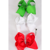 "Hair Bow Jumbo Large XMAS Bow Center Clear Stones Red White Green Mix Grosgrain Bowtie/DZ **Alligator Clip** Size-6""x 5"" Wide,4 of each Color Asst,Clip Strip & UPC Code."