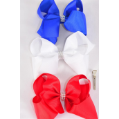 "Hair Bow Extra Jumbo Center Clear Stones Flag Patriotic-Flag Grosgrain Bowtie/DZ ** Alligator Clip** Bow-6""x 5"" Wide,4 White,4 Red,4 Blue,3 Color Mix,Clip Strip & UPC Code"