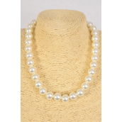 """Necklace 14 mm ABS Pearls Ivory/DZ **Ivory** 20"""" Long, Hang Tag & Opp Bag & UPC Code"""