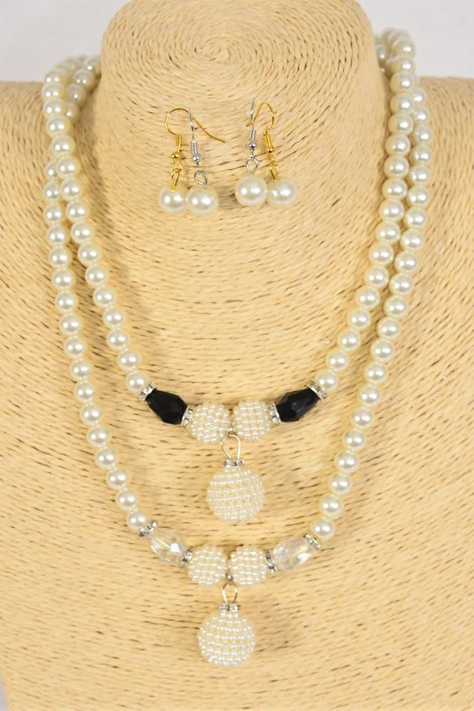 "Necklace Sets Glass Pearls Center Glass Pearl Drop/DZ 20"" Long Extension Chain,6 Black,6 White Asst,Hang Tag & Opp Bag & UPC Code"